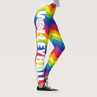 Bright Rainbow Color Volleyball Compression Pants