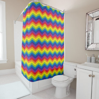 Bright Rainbow Color Zigzag Pattern Shower Curtain