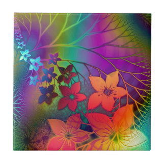 Bright rainbow colored floral design tile