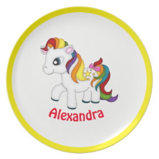Bright Rainbow Colors Pony Child's Melamine Plate