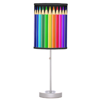 Bright Rainbow Coloured Crayons (Pencils): Artists Table Lamp