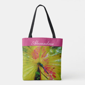 Bright Rainbow Dragonfly pink lily pad  w/ Name Tote Bag