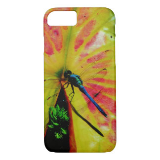 Bright Rainbow Dragonfly pink lilypad iPhone 7 Case