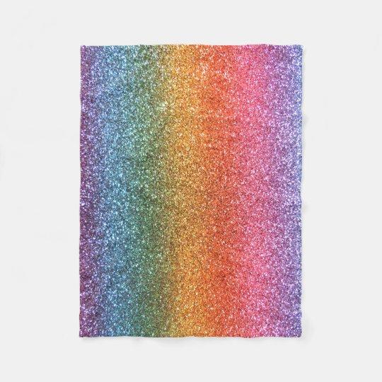 Bright rainbow glitter fleece blanket