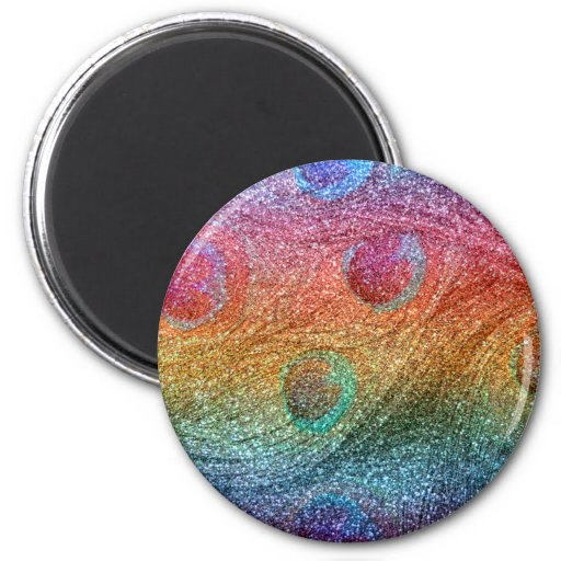 Bright rainbow glitter peacock feathers magnets