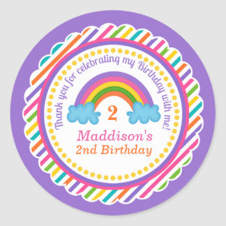 Bright rainbow kids girls birthday stickers favor