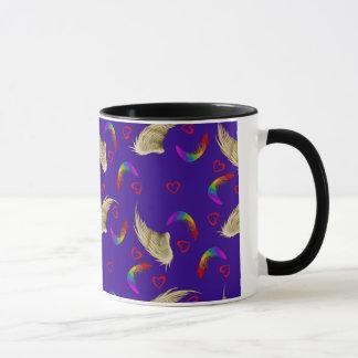 Bright Rainbow Mug with Wings and Hearts