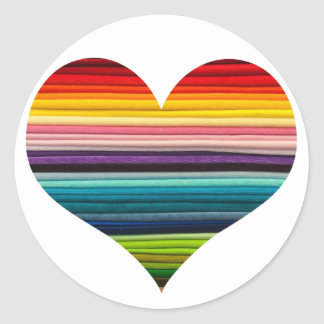 Bright Rainbow of Many Colors Heart Design Classic Round Sticker