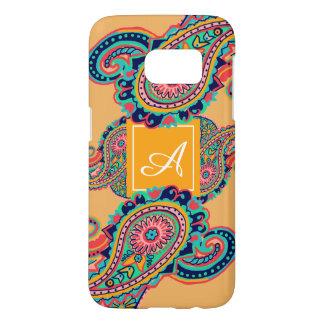 Bright Rainbow Orange Paisley Monogram Samsung Galaxy S7 Case