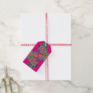 Bright Rainbow Paisley Collection Teal Orange Pink Gift Tags