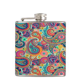 Bright Rainbow Paisley Flasks