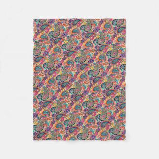 Bright Rainbow Paisley Fleece Blanket
