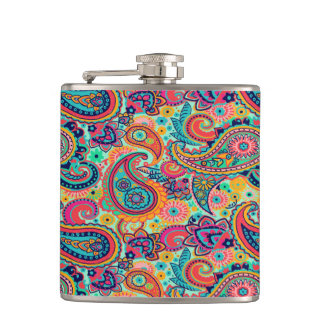 Bright Rainbow Paisley Hip Flask