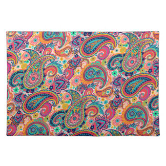 Bright Rainbow Paisley Placemat