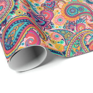 Bright Rainbow Paisley Wrapping Paper