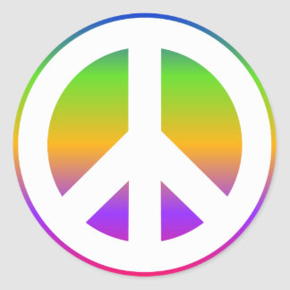Bright Rainbow Peace Sign Classic Round Sticker