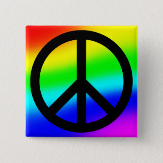 Bright Rainbow Peace Symbol 2 Inch Square Button
