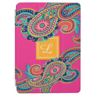 Bright Rainbow Pink Paisley Monogram iPad Air Cover