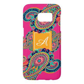 Bright Rainbow Pink Paisley Monogram Samsung Galaxy S7 Case