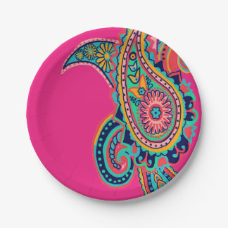 Bright Rainbow Pink Paisley Paper Plate