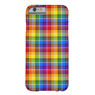 Bright Rainbow Plaid Pattern Barely There iPhone 6 Case