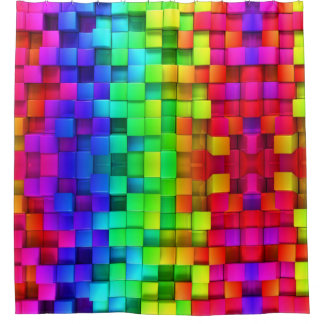 BRIGHT Rainbow Shower Curtain Look for the set