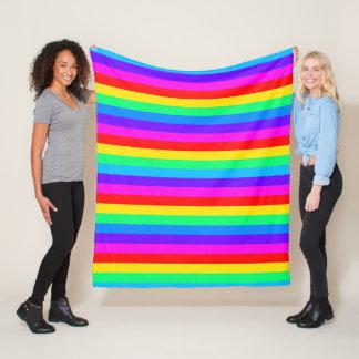 Bright Rainbow Stripe Fleece Blanket