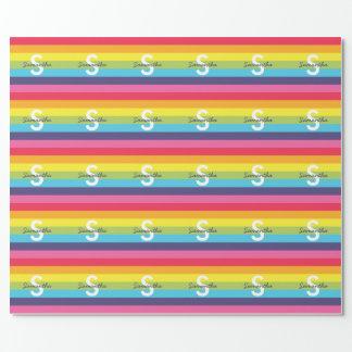 Bright Rainbow Stripe Initial Name Gift Wrap