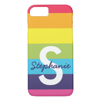 Bright Rainbow Stripe Initial Name Phone Case