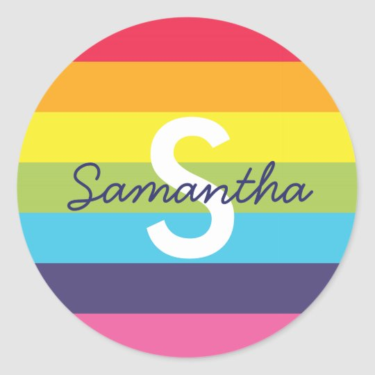 Bright Rainbow Stripe Initial Name Sticker