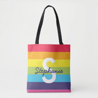 Bright Rainbow Stripe Initial Name Tote