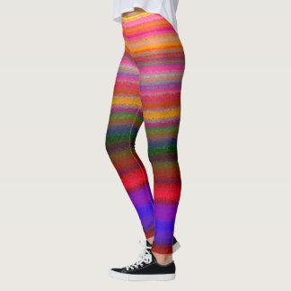 Bright rainbow stripe printed leggings