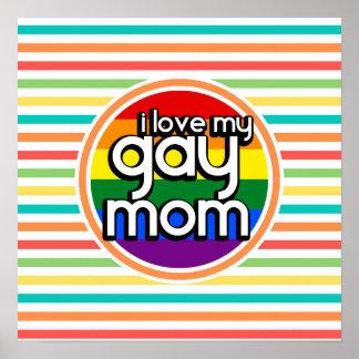 Bright Rainbow Stripes Gay Mom Print