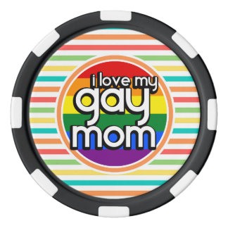 Bright Rainbow Stripes, Gay Mom Set Of Poker Chips