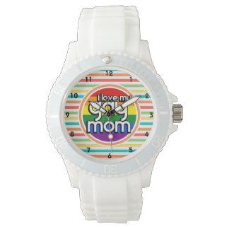 Bright Rainbow Stripes, Gay Mom Wristwatches