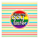 Bright Rainbow Stripes, Gay Sister Personalized Announcement