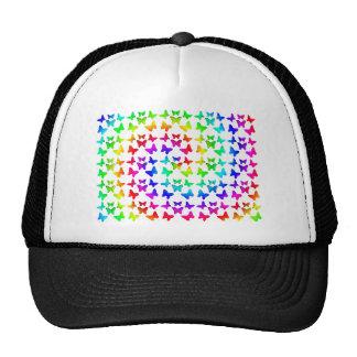 Bright Rainbow Swirl Butterflies Mesh Hats