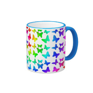 Bright Rainbow Swirl Butterflies Mugs