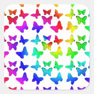Bright Rainbow Swirl Butterflies Square Sticker