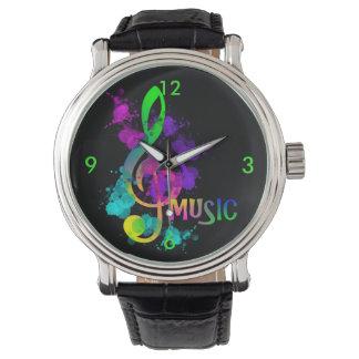 Bright Rainbow Treble Clef Music Paint Splatter Wrist Watches