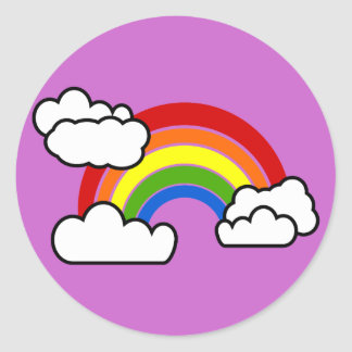 Bright Rainbow with Fluffy White Clouds Classic Round Sticker
