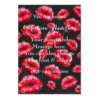 """Bright Red Abstract Lips 3.5"""" X 5"""" Invitation Card"""
