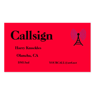 Bright Red Amateur Radio Call Sign Business Card
