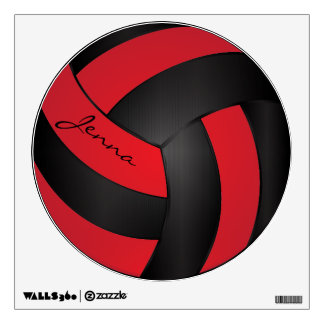 Bright Red and Black Personalize Volleyball Wall Decal