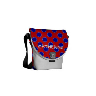 Bright Red and Blue Polka Dot Personalized Commuter Bags
