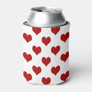 Bright Red and Cracked Black Mosaic Hearts Can Cooler