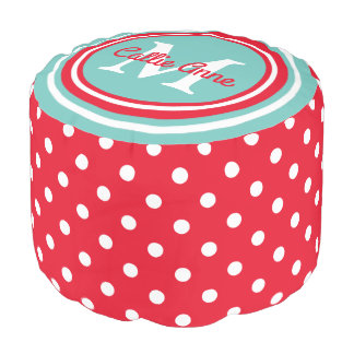 Bright Red and Light Teal Polka Dot Monogram Pouf