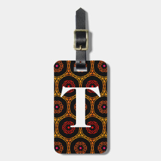 Bright Red and Orange Henna Pattern with Initial Luggage Tag