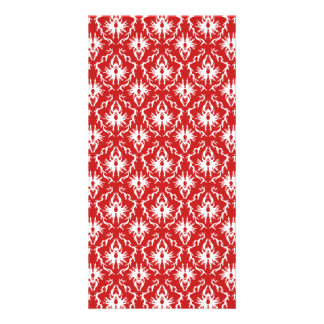 Bright Red and White Damask Pattern Photo Cards