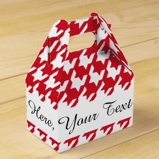 Bright Red and White Houndstooth Pattern Favor Box